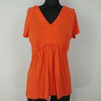 Calvin Klein Orange V-Neck Short Sleeve Top Blouse Womens Size S