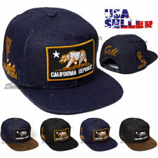 Baseball Cap California Republic Hat Cali Snapback Adjustable Denim Flat Mens