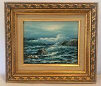 Stevens Oil Impressionist Seascape Painting Gold Frame Crashing Waves Artwork