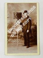 Antique Cabinet Card Unknown Photographer w/ Camera in Studio