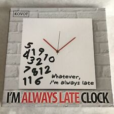 Wall Clock Whatever I'm Always Late Analog Deco Kitchen