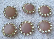 6 Vintage 1950's Hard Plastic  Buttons with Rhinestones  Mauve color # 152