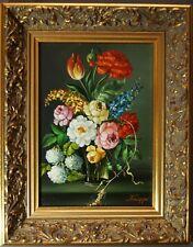 F.O. Knapp, Blumenstilleben in Glasvase, Öl auf Platte, gerahmt