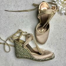 Red by Marc Ecko Size 7 Sandals Wedge Heel Gold Beige Tan Wraps Ankle Ties Ankle