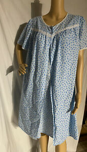 Vintage Lady Lindsay Woven Cotton Blend Nightgown & Robe Blue Floral Print 1X