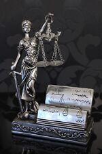 Justitia Figur silber Visitenkartenhalter 19cm Deko Göttin Recht Anwalt Notar