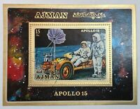 AJMAN 1971 Block 279 A Apollo 15 Moon Landing Space Flight Module Car Rover MNH