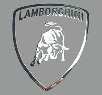 LAMBORGHINI METALLIC CHROME EFFECT STICKER LOGO AUFKLEBER 27x30mm [796]