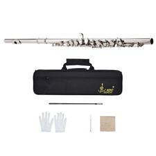 Western Concert Flute Silver Plated 16 Holes C Key with Accessories Kit HOT