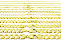 """10K Yellow Gold Solid 2mm-12.5mm Cuban Curb Chain Link Pendant Necklace 16""""- 30"""""""