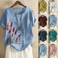 Plus Women Short Sleeve Cotton Linen O-Neck Button Print Blouse Top T-Shirt Ceng