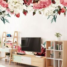 Large Peony Rose Flower Art Wall Stickers Living Room Home TV Background Decals