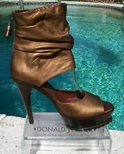 Donald Pliner Couture Metallic Leather Platform Shoe New 6.5 Peep Toe $550 NIB