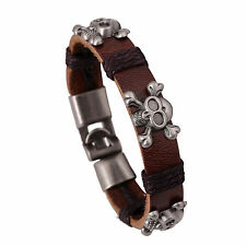Totenkopf Herrenlederarmband 3 Skull Braun Silber Leder Armband Verschluss 2060