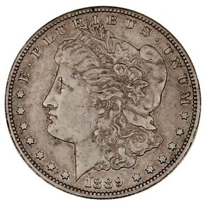 1889-S $1 Silver Morgan Dollar in AU Condition, Mostly White, Fully Original