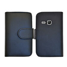 Schwarz Wallet Leder Case Handy Cover Samsung Galaxy Young GT S-S6310L GT S6310N