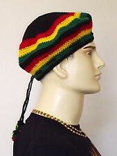 A 0033 = Hand Made = Crochet Red Yellow Green Colour TAM with Bobbles