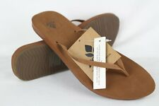 New Reef Women's Cushion Bounce Slim LE Flip Flop Sandals Size 9m Cocoa Leather