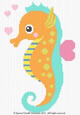 Crochet Pattern - SEAHORSE/COLORFUL OCEAN SEA BABY Graph Afghan Pattern