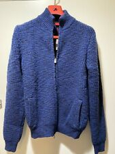 Isaia Merino Wool Bomber Zip Sweater M Medium