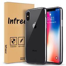 Cover per iPhone X InfreecsTPU Silicone Morbida Trasparente con bordo Grigio