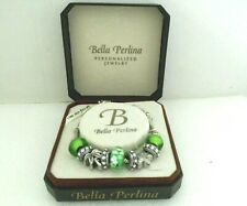 "OE.  ""Bella Perlina"" Charms Bracelet Green and Rhinestones with box"
