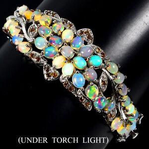 Unheated Oval Fire Opal Sapphire Round Diamond Cut 925 Sterling Silver Bangle