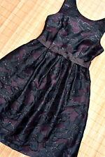 HALLHUBER wunderschönes Jacquard Kleid Gr. 40 / UK 12 neu Burgunder Schwarz