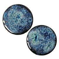 Pair - Obsidian Galaxy Glass Ear Plugs Double-flared Gauges Stretchers Tunnels