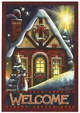 "Warm Welcome Christmas Garden Flag Wreath Holiday Winter Snowy Cabin 12"" x 18"""