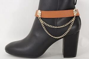 Women Boot Chain Bracelet Western Shoe Charm Jewelry Brown Strap Gold Skulls
