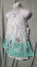 2 PIECE WHITE W/GREEN & BROWN BABY DOLL AND BOY SHORT  PAJAMA SET SIZE LARGE