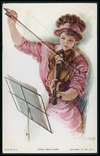 art Early Christy graceful woman playing violin original old 1910s postcard