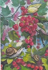 Rare Snails on the red currant berries by Plovetskaya Russian modern postcard