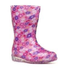 Girls Pink Floral Wellington Boots Kids Flower Welly Childrens Rain Snow Wellies