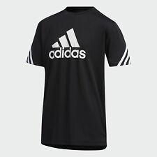 adidas Big Logo White 3-Stripes Short Sleeve Black Tee Big Boys size M