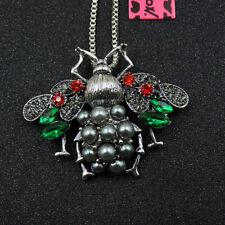 Betsey Johnson Crystal Rhinestone Bee Pendant Sweater Necklace