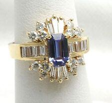 Nuova Tanzanite Diamante Mix Anello Taglio a Smeraldo Blu Viola 14k Oro Giallo