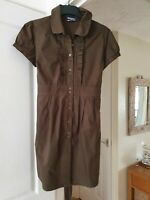 Fab OASIS Khaki Green Fit and Flare Cargo Dress, 100% Cotton, Size 12