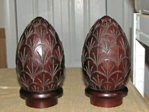 Antique Architectural Salvage Wooden Post Finial's (2)