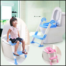 Kids Trainer Toilet Potty Training Seat Baby Toddler Chair Padded Seat Ladder