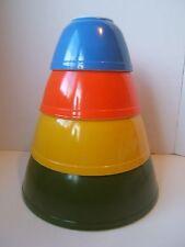 Pyrex Reverse Primary 4PC Nesting Mixing Bowls 401-404 Green Yellow Orange Blue