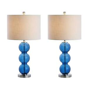 Table Lamp 27 in. Glass Triple-Sphere 9W LED Bulb Included Plug-In (Set of 2)