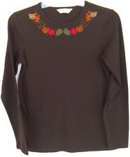 Christopher & Banks T-Shirt Womens Size Small Brown Fall Applique Long Sleeve