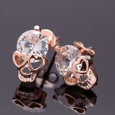 new womens/mens small crystal skull stud earrings 14k gold plated