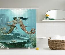 Mermaids in Love Underwater Fairy Design Shower Curtain Extra Long 84Inch