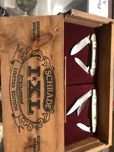 SCHRADE IXL SCRIMSHAW 2 PIECE LIMITED EDITION KNIFE SET SHEFFIELD ENGLAND