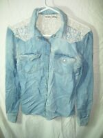 WOMENS JUNIORS BLUE DENIM LACE WESTERN PEARL SNAP TOP SHIRT BLOUSE SIZE S 34