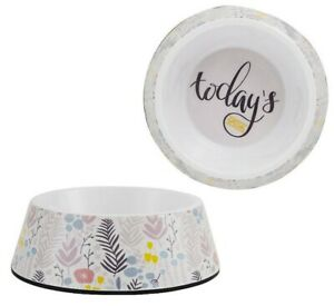 Whisker City® Ditsy Garden Flower Melamine Cat Bowl - (1) 12 oz Food Water Dish