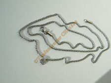 Chaine Collier Long 71 cm Style Maille Palmier 3D Argenté Acier Inoxydable 2 mm
